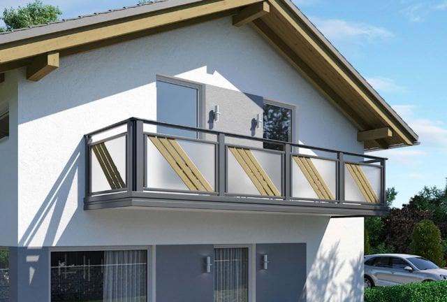 Parapetto moderno in alluminio con doghe inclinate e riempimento in vetro - Balcone in alluminio Alu Design Larimar